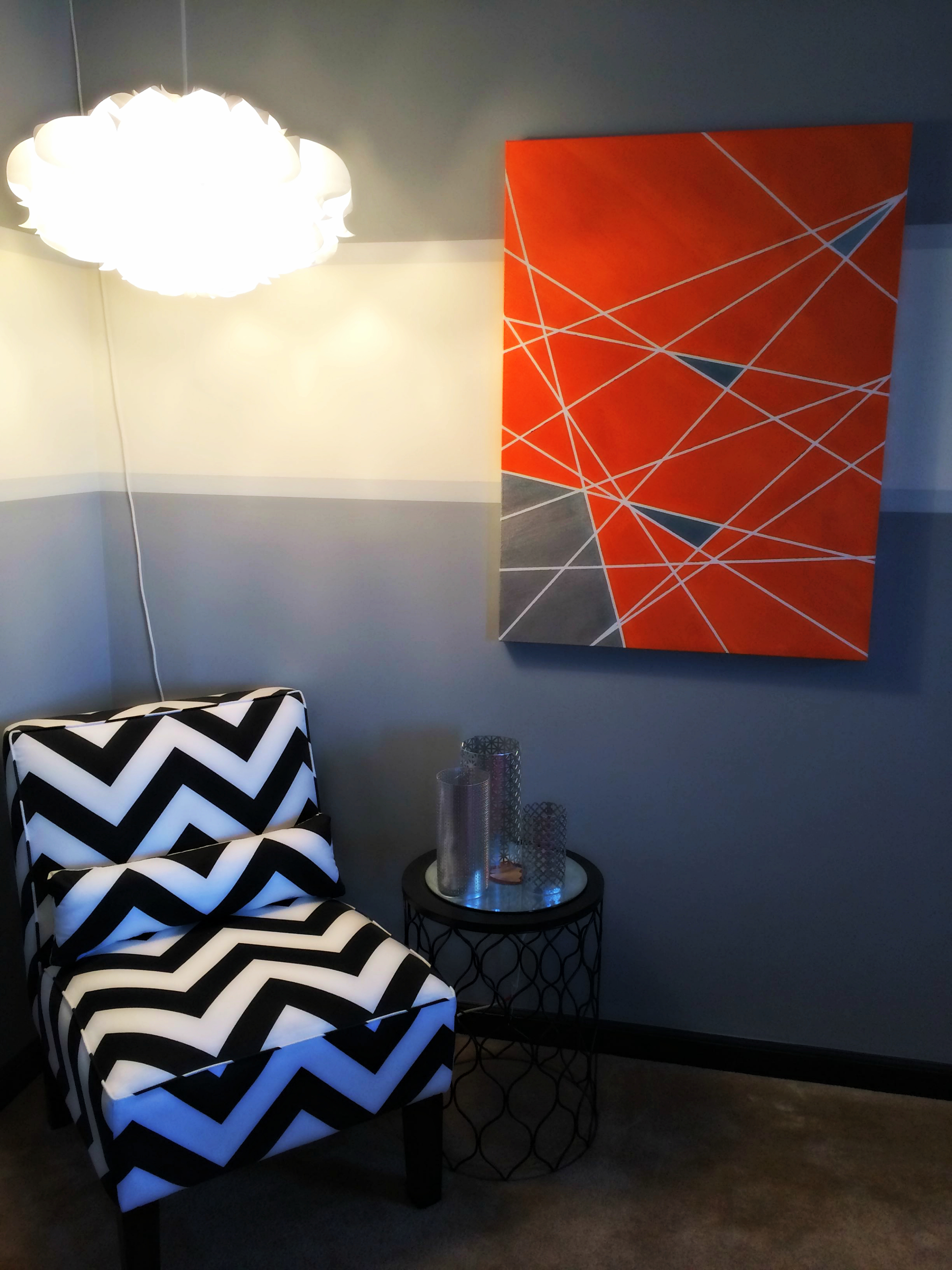 {My DIY Geometric Print Canvas Wall Art} - Displayed