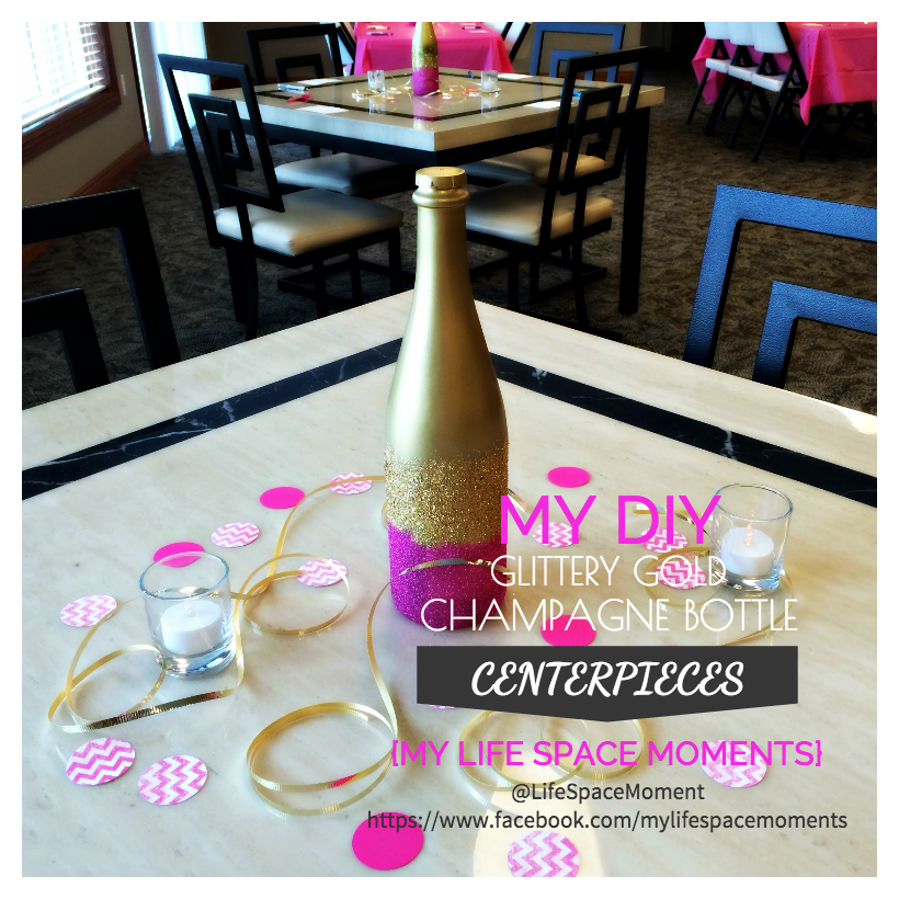 {My DIY Glittery Gold Champagne Bottle Centerpieces}