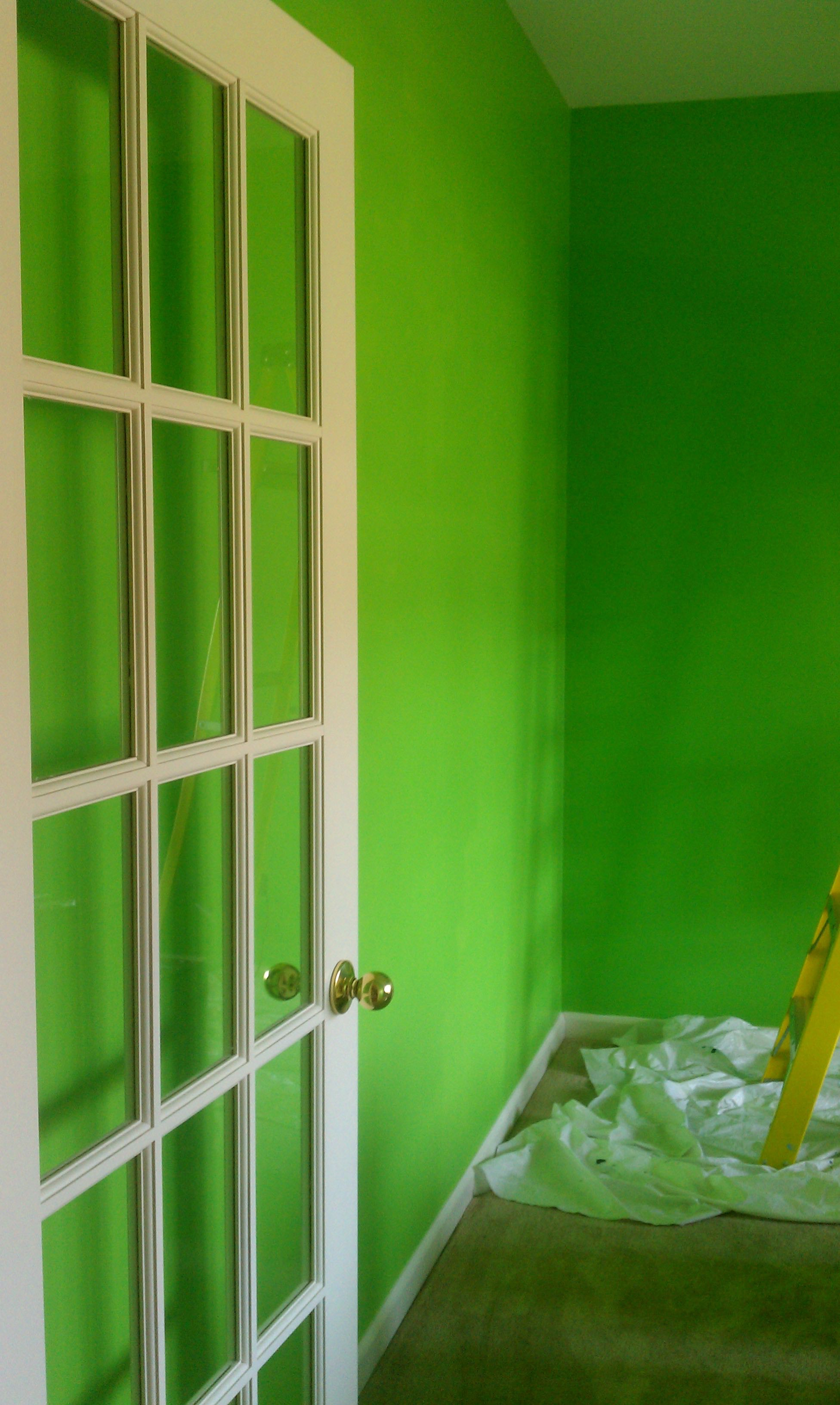Painting the Space in a Bright, Energizing Green - {My Bright Former Office / Play Room}