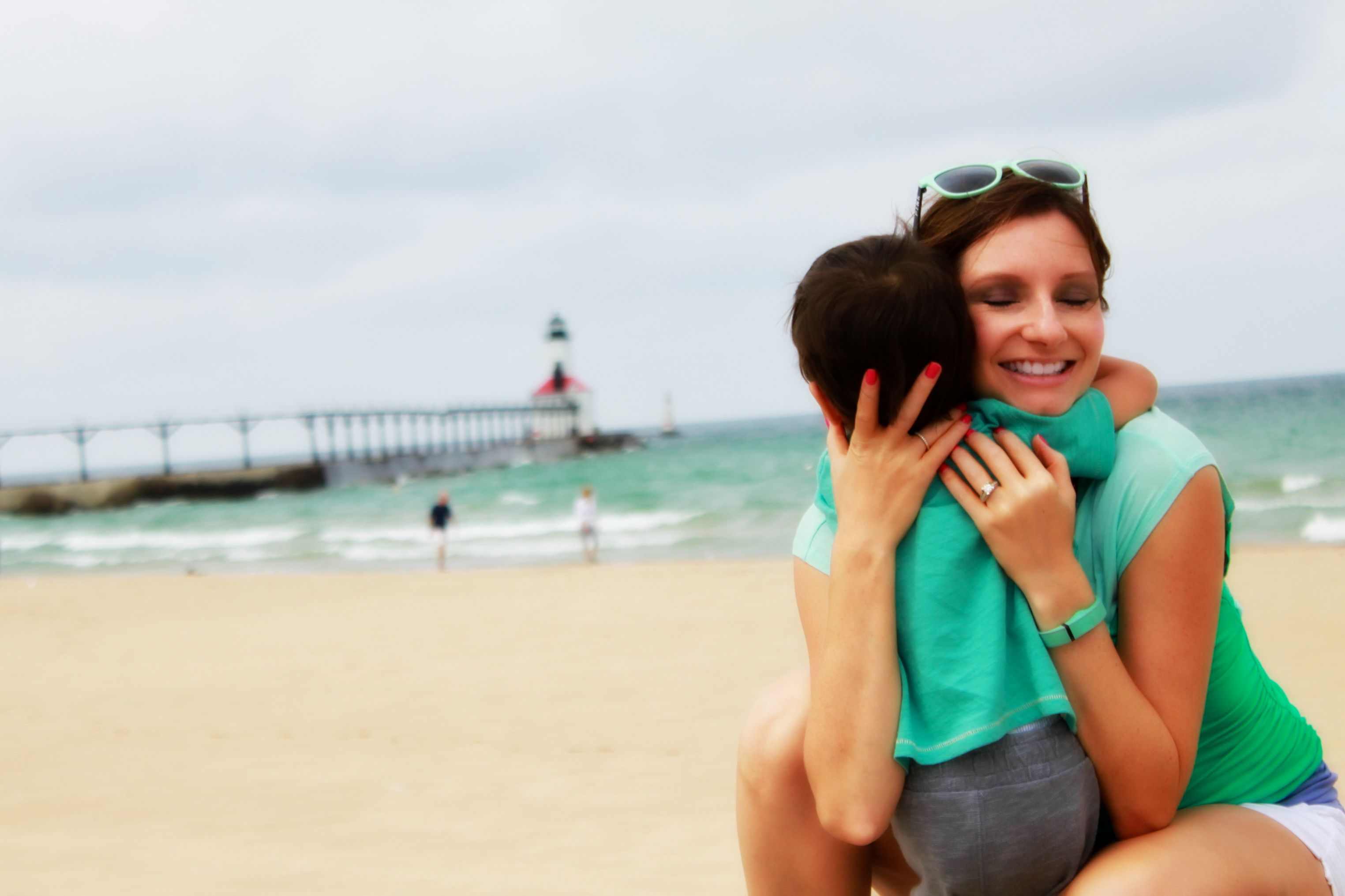 Loving Hugs with Mommy on Michigan City Beach | {My Life Space Moments} 2015