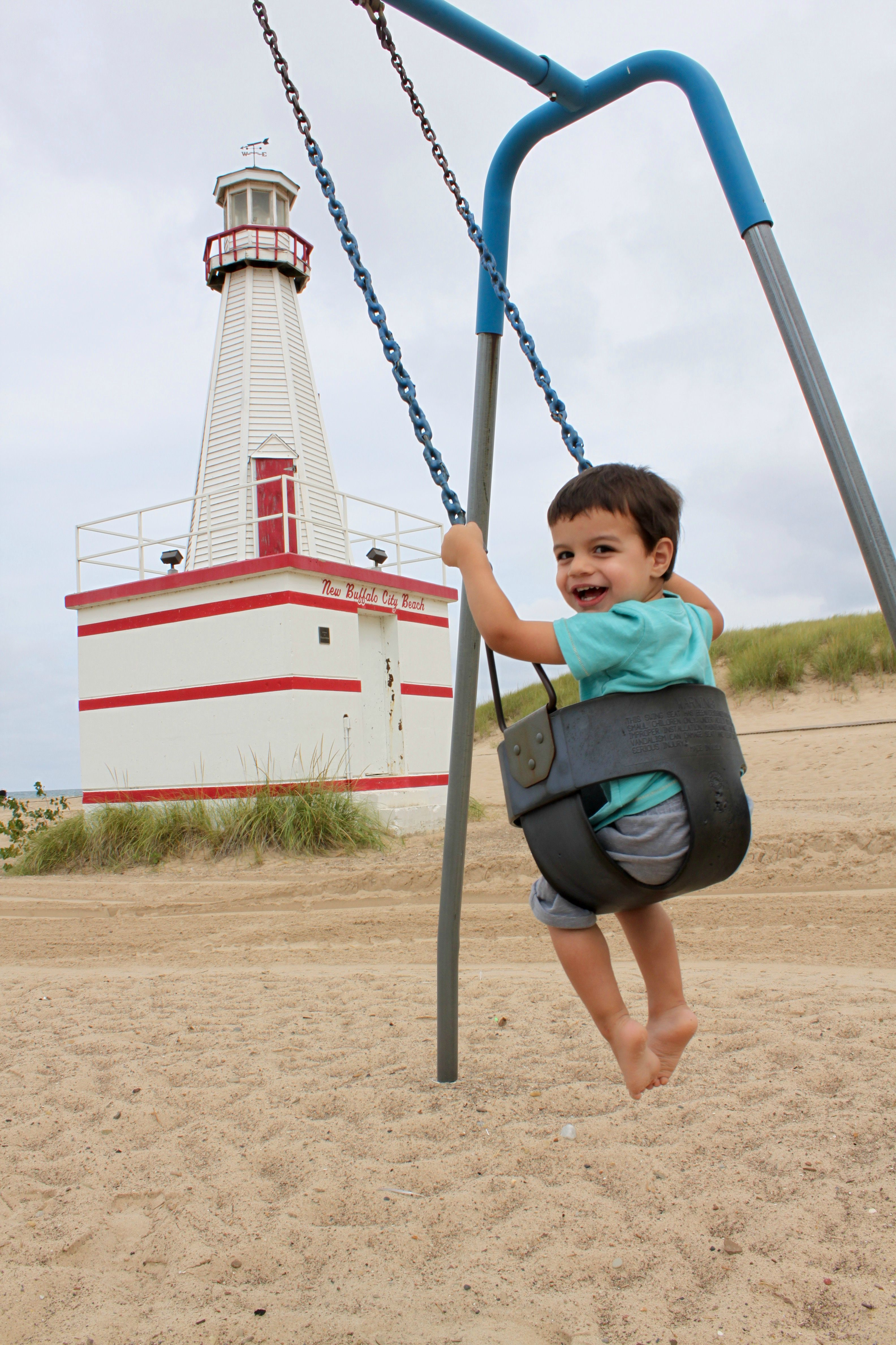 My Toddler Swinging on New Buffalo City Beach | {My Life Space Moments}
